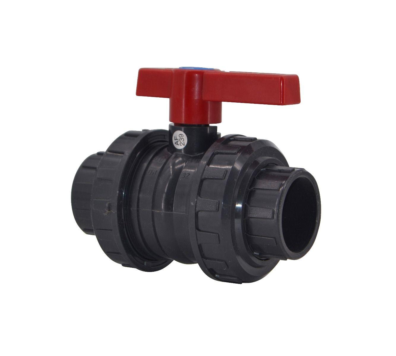 PVC 2-Wege-Kugelhahn Ø 50mm mit Klebemuffen