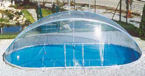 Cabrio Dome für Ovalbecken mit schmalem Handlauf
